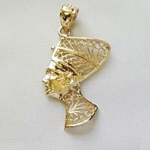 14k Yellow Gold EGYPTIAN QUEEN NEFERTITI Pendant / Charm, Made in USA