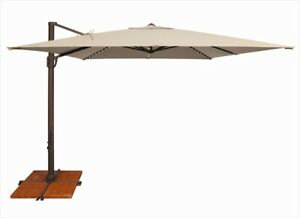 SimplyShade 10 ft. Bali Pro Square Rotating Cantilever Umbrella with Lights  Bei