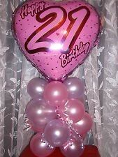 FOIL BALLOON TABLE DECORATION DISPLAY  AIRFILL NO HELIUM - AGE 21 21ST BIRTHDAY