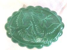DARK GREEN OVAL OPALINE GLASS DOVE OF PEACE DRESSER JAR TRINKET JEWELRY BOX