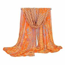 Women Peacock Chiffon Scarf Long Soft Shawl Silk Wrap Neck Warm Stole orang V6R5