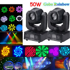 2PCS 50W RGBW Spot LED Moving Head Stage Lights DMX Disco DJ Party Gobo Lighting