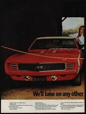 1969 CHEVROLET Red CAMARO SS & CORVETTE Coupe Sports Cars 2 Page VINTAGE AD