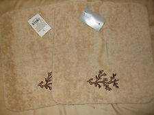 NWT Ultima Set of 2 Washcloths Linen 0125 Coral Sea Egyptian Cotton Loops