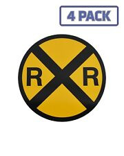 Yellow Metal Caution Railroad Crossing Sign Sticker Vinyl Decal 1-1036