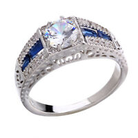 Wholesale Silver Vintage Wedding Sapphire Engagement White Topaz 6-10 Ring 925