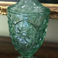 Estate Vintage Lime Green Depression Glass Daisy Tall Lidded CANDY DISH   BN131