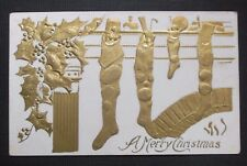 Stockings Hung-A Merry Christmas-Vintage Christmas Embossed Gold/Beige Postcard