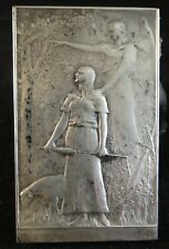 "French Daniel Dupuis Joan of Arc Silver coated Bronze Plaque.  2 5/8"" x 1 5/8""."