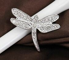 SMALL SILVER TONE WHITE DIAMANTE RHINESTONE CRYSTAL DRAGONFLY BROOCH PIN