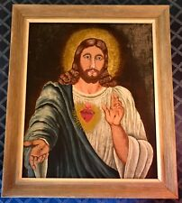 "Framed Folk Art Oil on Canvas Jesus Christ Sacred Heart Signed 34"" x 29"""