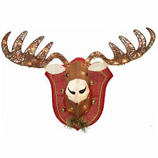 MOOSE HEAD WALL SCULPTURE / LODGE & CABIN / 35 CLEAR LIGHTS / 28 INCHES WIDE!