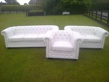 White Matt PU Leather Chesterfield Diamante 3 Piece Suite.