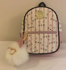 Luv Betsey Johnson Mini Backpack Kitty Cat Pink White Stripe w/ Pom Pom