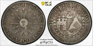 PCGS South Peru 1838 8 Reales C MS Cuzco Mint Silver Coin Nice Toned Scarce VF35