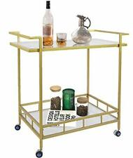 UMI Gold Drinks Kitchen Trolley Serving Bar Cart on Wheels with Glass