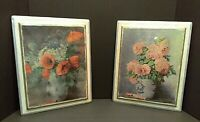 Vintage Shabby Chic Decoupage Pictures of Flowers in Vases on Wood Set of 2