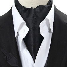 LJ06-06 Solid Black Paisley Flower Mens 100% Silk Ascot Tie Cravat Self Tied
