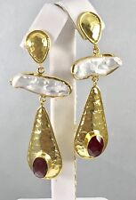Genuine Ruby& Cultured Pearl 22kt Gold Over Sterling Silver Dangle Earrings