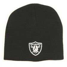 Oakland Raiders Football Team Logo NFL Black Cuffless Beanie Knit Cap Hat