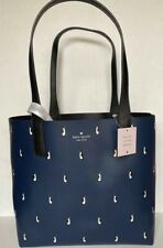 New Kate Spade New York Large Reversible Tote with Pouch Arch Penguins Navy