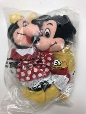 DISNEY STORE MICKEY & MINNIE MOUSE BEAN BAG PLUSH SET YELLOW BOW SHIRT NEW