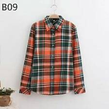 Ladies Womens Check Shirt Lumberjack Long Sleeve Flannel Button Down Blouse Tops