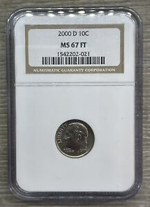 2000-D Roosevelt Dime 10c NGC MS67 FT Full Torch (ZIG-1)