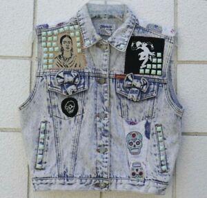 Vintage Large BIKER Acid wash DENIM VEST Jordache PATCHES Frida Kahlo M L