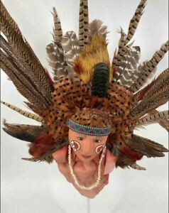 Native American/Indian Face Head Sculpture Feather Headdress Wall Placque