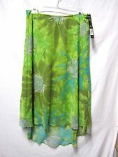 PIERRE CARDIN skirt 8 stretchy Waist 30-32 New NWT$44 Lime Multi Floral washable