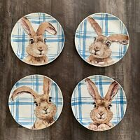 Set of (4) NWT Pier 1 ~ HENRY BUNNY Salad Plates EASTER Rabbit Blue White Plaid