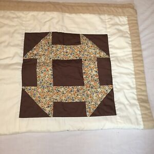 """Monkey Wrench Patchwork Quilt 41"""" x 41"""" Flannel Backed"""
