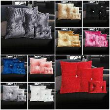 Crushed Velvet Cushions Luxury Diamante Small Large Bedroom Sofa Filled Cushion