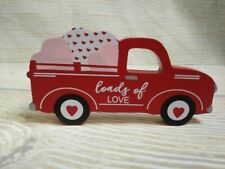 "New! ""Loads Of Love"" Wood Red Truck Sign Farmhouse Valentine Hearts Tier Tray"