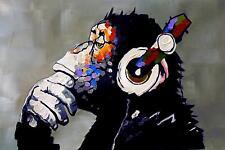 Gorilla Music Headphones Sound Ape WALL ART CANVAS FRAMED OR POSTER PRINT