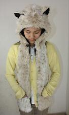 White Leopard Hood Hoodie Fur Animal Hat Scarf Mittens Gloves Pocket Warm New