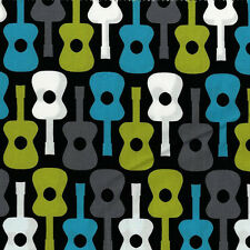 Lagoon Groovy Guitar for Michael Miller, 1/2 yard 100% cotton fabric