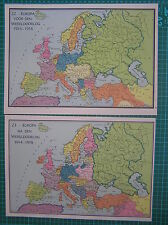 2 Old maps Europe before after WW1 1939 landkaart Europa antique map World War