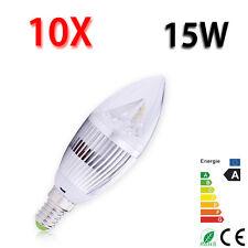 10X 15W High Power LED Silver Candle E14 LED Light Warm White Bulb Energy Saving