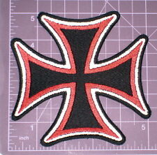 """Large Tri-Color Maltese Cross Embroidered Patch 5"""""""