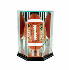 GLASS UPRIGHT FOOTBALL DISPLAY CASE UV PROTECTION BLACK WOOD