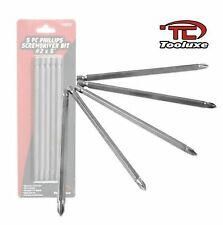 """TOOLUXE 10221L - 5 Piece #2 x 6"""" Phillips Screwdriver Driver Bits - New"""