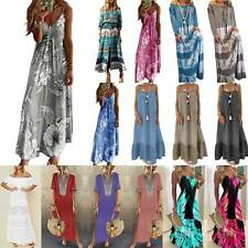 Womens Ladies Boho Baggy Maxi Dress Summer Casual Beach Holiday Dress Plus Size