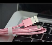 3 Meters Long Cord for iPhone 7 Charger Cable USB Data Cord, Braided Pink.