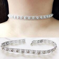 Rhinestone Diamond Crystal Box Glitter Thick Silver Velvet Choker Wedding Bridal