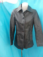 TARGET BLACK PIGSKIN LEATHER FITTED FULLY LINED COAT-SZ 8 VGC