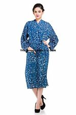 LADIES DRESSING GOWN SUMMER COTTON INDIAN GOWN ETHNIC BATHROBE ROBES MAXI GOWN