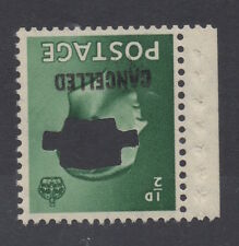 Ed Viii - 1/2d green. Type 33 Cancelled + punched. Superb unmounted mint.