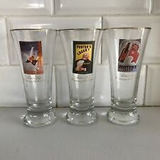 Fosters Lager Centenary BEER Glass's x 3 Vintage